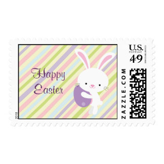 Cartoon Easter Rabbit with Stripes Postage