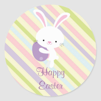 Cartoon Easter Rabbit with Stripes Stickers
