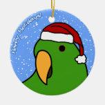 Cartoon Eclectus Christmas Ornament
