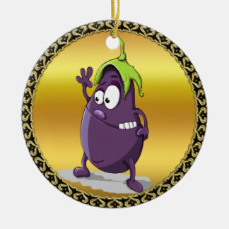 Cartoon eggplant with big eyes green hair 2 ceramic ornament