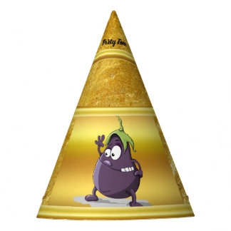 Cartoon eggplant with big eyes green hair 2 party hat