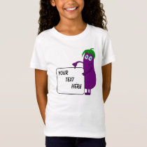 Cartoon eggplant your text customizable T-Shirt