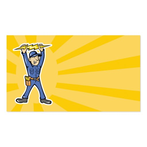 Cartoon Electrician holding electricity lightning Business Card Template