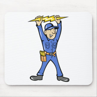 Cartoon Electrician holding electricity lightning Mouse Pad