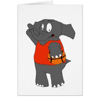 Cartoon Elephant Basketball Player Card