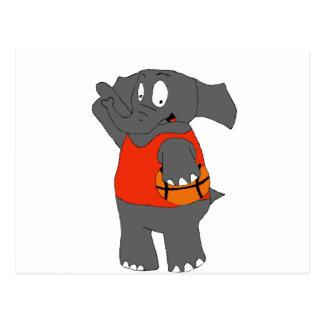 Cartoon Elephant Basketball Player Postcard