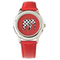 Cartoon Elephant Dots Pattern Cute Bright Red Chic Wrist Watch