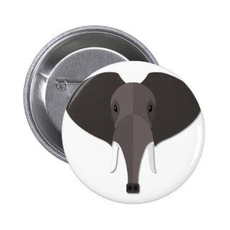 Cartoon Elephant Head Pinback Button