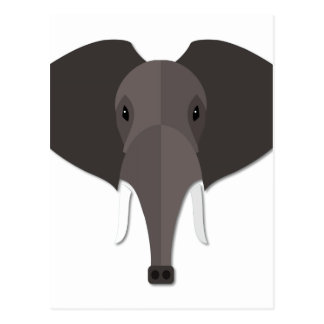 Cartoon Elephant Head Postcard