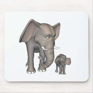 Cartoon Elephant Mother and Son Mouse Pad