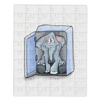 Cartoon elephant sitting inside a refrigerator jigsaw puzzle