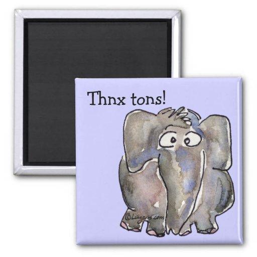 Cartoon Elephant Thnx Tons Magnet