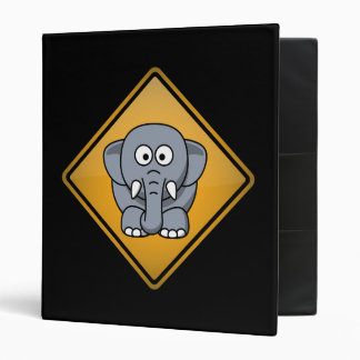Cartoon Elephant Warning Sign Binder