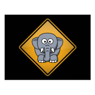 Cartoon Elephant Warning Sign Postcard