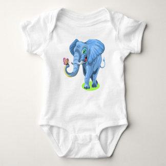 Cartoon Elephant with Butterfly Baby Bodysuit