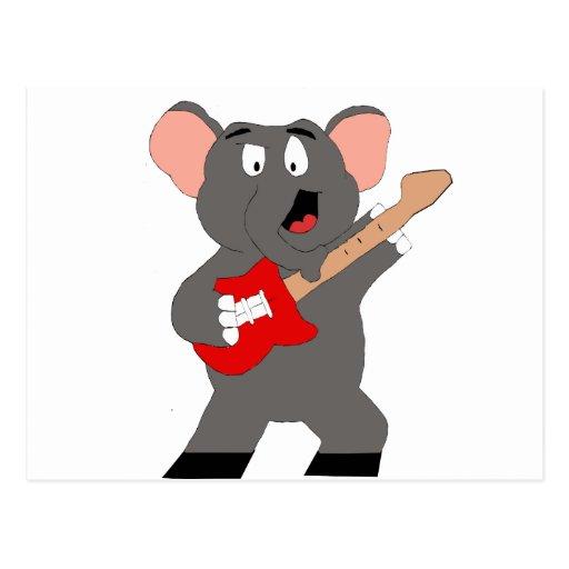 Cartoon Elephant With Guitar Post Card