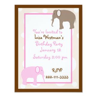 Cartoon elephants Birthday Invitation