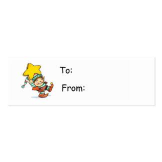 Cartoon Elf Gift Tag Business Card Template