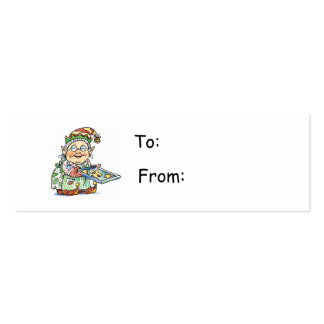 Cartoon Elf Gift Tag Business Cards