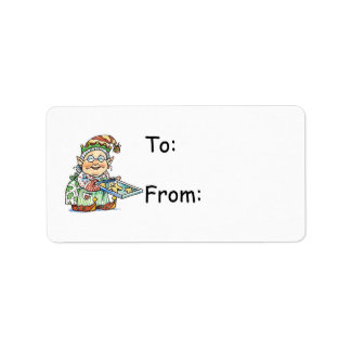 Cartoon Elf Gift Tag Label