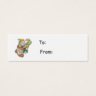 Cartoon Elf in Christmas Stocking Gift Tag