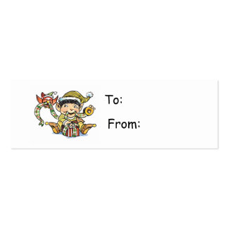 Cartoon Elf Wrapping a Present Gift Tag Business Card Template