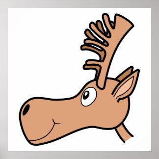 Cartoon Elk Moose. Poster
