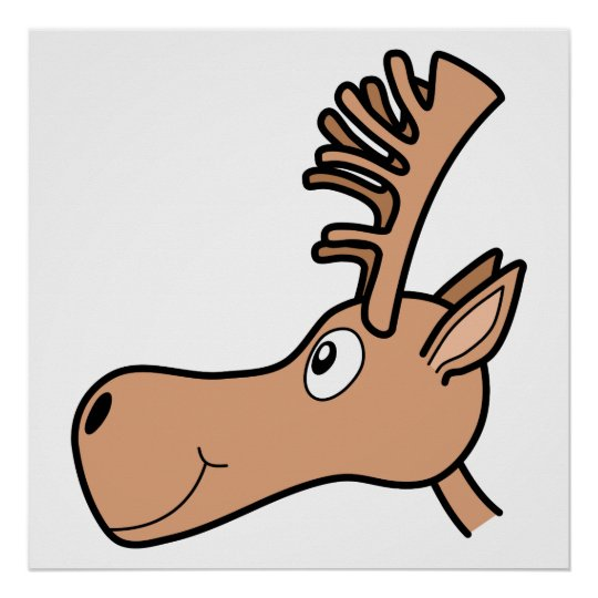 Cartoon Elk Moose. Poster
