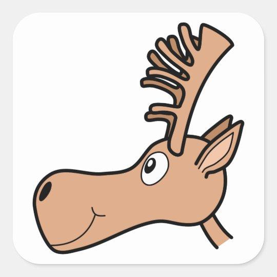 Cartoon Elk Moose. Square Sticker