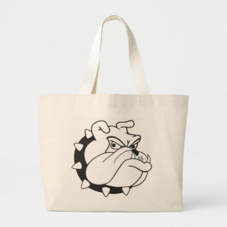 Cartoon English  Bulldog  Portrait  Canvas Totebag Large Tote Bag