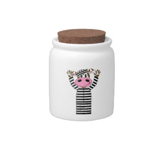 Cartoon Escaped Cow Prisoner Candy Jars