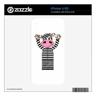 Cartoon Escaped Cow Prisoner Skin For iPhone 4S