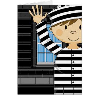 Cartoon Escaped Prisoner Greeting Card
