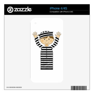 Cartoon Escaped Prisoner Decals For The iPhone 4S