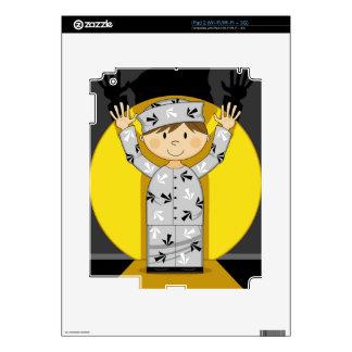 Cartoon Escaped Prisoner in Spotlight Decals For The iPad 2