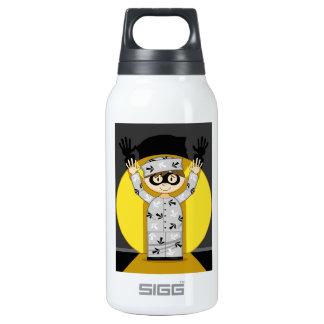 Cartoon Escaped Prisoner in Spotlight Insulated Water Bottle