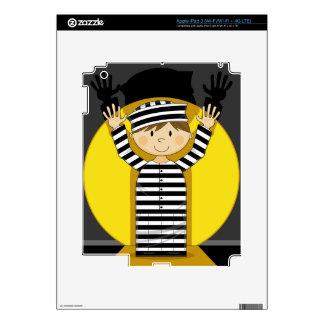Cartoon Escaped Prisoner in Spotlight iPad 3 Decal