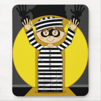 Cartoon Escaped Prisoner in Spotlight Mouse Pad