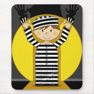 Cartoon Escaped Prisoner in Spotlight Mousepad