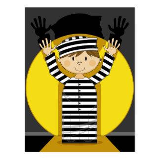 Cartoon Escaped Prisoner in Spotlight Postcard