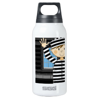Cartoon Escaped Prisoner Insulated Water Bottle