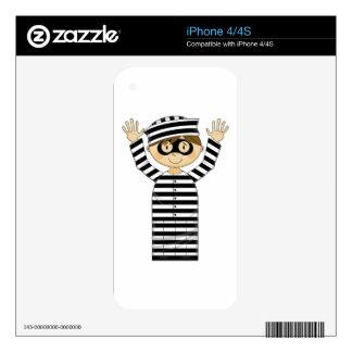 Cartoon Escaped Prisoner iPhone 4 Skins