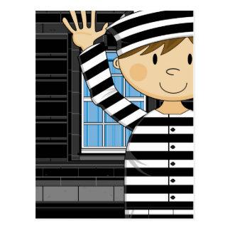 Cartoon Escaped Prisoner Postcard