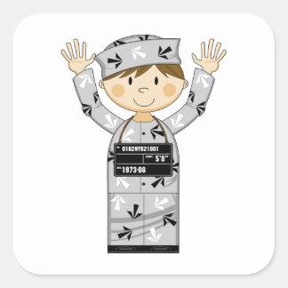 Cartoon Escaped Prisoner Square Sticker