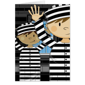 Cartoon Escaped Prisoners in Spotlight Card