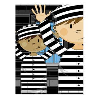 Cartoon Escaped Prisoners in Spotlight Postcard