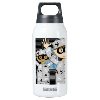 Cartoon Escaped Prisoners Insulated Water Bottle