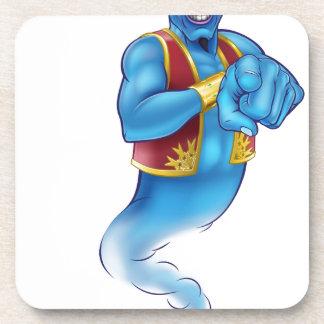Cartoon Evil Poiting Genie Coaster
