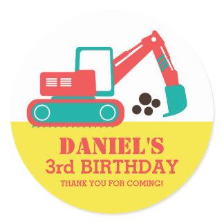 Cartoon Excavator Children Birthday Party Stickers
