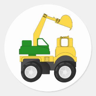 Cartoon Excavator Classic Round Sticker